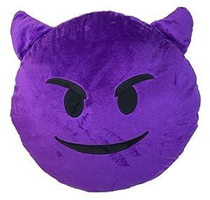 purple devil emoji pillow smiley emoticon yellow round cushion stuffed plush soft toypooppinkpoopmonkeymoney mouthcatheart eyelaugh to tearsmirking