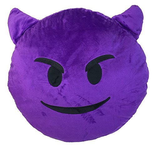 PURPLE DEVIL Emoji Pillow Smiley Emoticon Yellow Round Cushion Stuffed Plush Soft Toy(Poop,Pinkpoop,Monkey,Money Mouth,Cat,Heart Eye,Laugh to Tear,Smirking,Throwing Kiss,Tongue,Devil,Nerd) by GEN -
