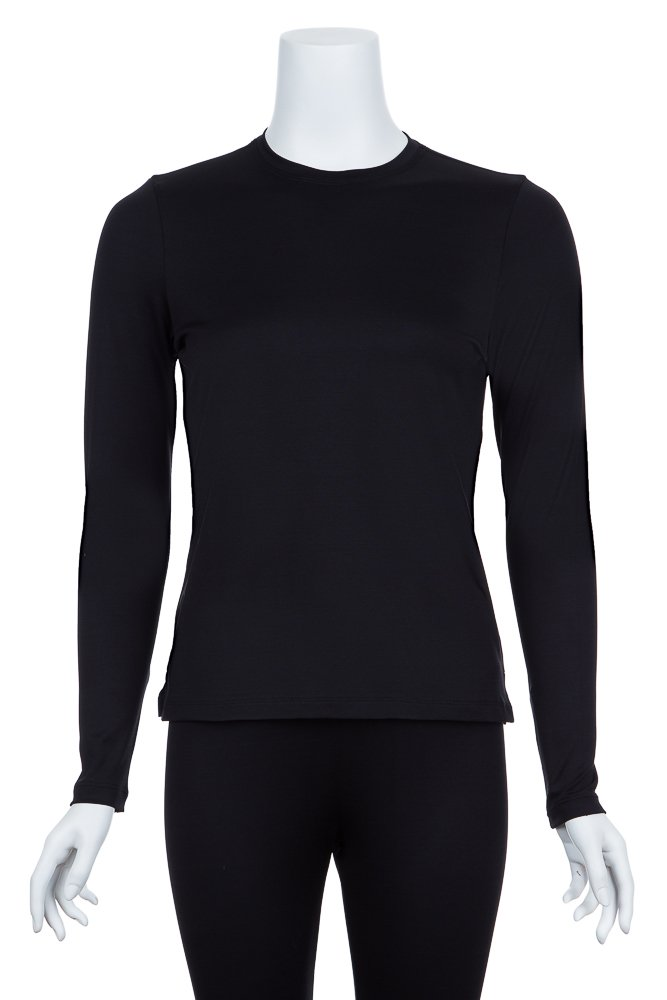 A'Nue Miami Women's Perfect Crew, Long Sleeve Basic Crew Neck Shirt, Medium, Black