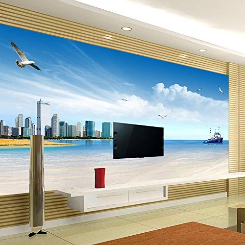 Wall Paper - Custom Photo Wallpaper Sea View City Photography Background 3d Non Woven Printed Living Room Tv - Name Metallic Easel Remove Seam Scraper Leaves Chalkboard Remover Girls Images ()