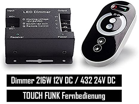 PWM LED Strips dimmer 12 / 24V a control remoto 18A Touch RF