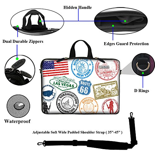 Meffort Inc 15 15.6 inch Neoprene Laptop Sleeve Bag Carrying Case with Hidden Handle and Adjustable Shoulder Strap - USA Rubber Stamp Icon