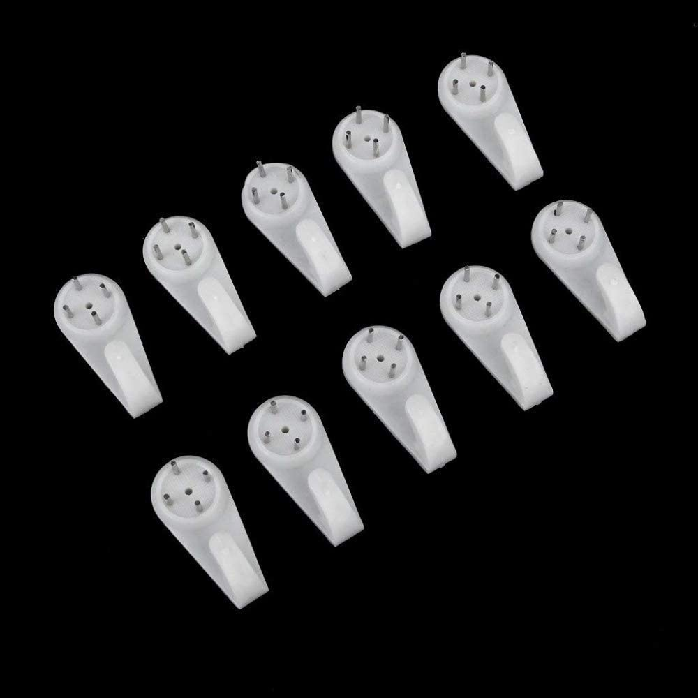 Wall Hook Durable Non-Marking White Multi-Purpose Seamless Hook for Hanging Photo,10PCS