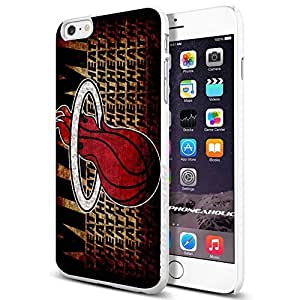 Basketball NBA MIAMI HEAT Logo,Cool iphone 6 4.7 Smartphone Case Cover Collector iphone TPU Rubber Case White