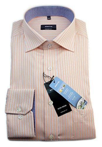 eterna camicia da uomo comfort fit arancione/bianco/blu con motivo a righe con taglia 39 - 46 vivigade/4572,85, E147