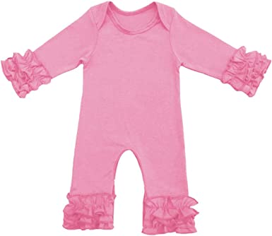 Newborn Baby Toddler Girl Ice Ruffle Hem Jumpsuit Romper Long Sleeve Bodysuit Playwear Christmas Pajamas Outfit Clothes