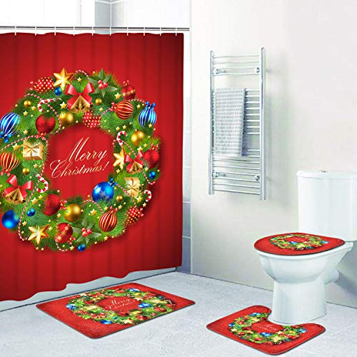 4 Pcs Merry Christmas Shower Curtain Sets with Non-Slip Rugs, Toilet Lid Cover, Bath Mat and 12 Hooks Xmas Wreath Ball Star Fir Leaves Shower Curtain for Christmas Decoration