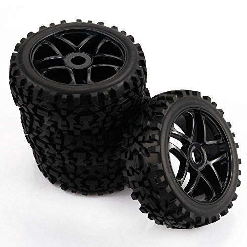 Yiguo 4pcs RC 1:8 Scale Off Road Car Buggy RC Tires Tyre and Wheels for Redcat HSP HPI Black