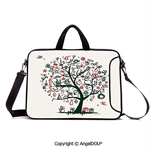 AngelDOU Portable Ultrabook Soft Sleeve Laptop Bag Case Cover Large Tree with New Year Ornaments Presents and Candles Angels Holiday Theme Dec Compatible with MacBook Asus Acer HP Green - Pumps Soft Angels