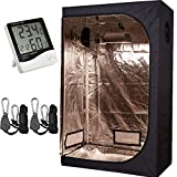 TopoLite 48''x24''x72'' Grow Tent + 1 Pair Light Hangers + 1 Pcs Hygrometer Thermometer for Indoor Garden Growing Room Hydroponic System (48''x24''x72'' Kit)