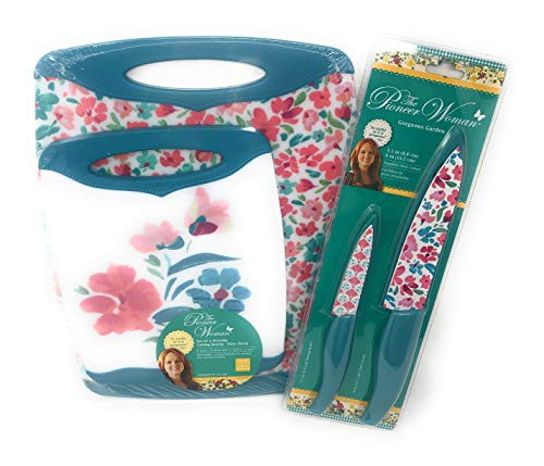 The Pioneer Woman Ditsy Floral Non Slip Cutting Boards And Coordinating Knife Set-6 Pieces Chefs Knife Paring Knife Non porous Cutting Boards Household Shower Ideas