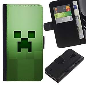KingStore / Leather Etui en cuir / Samsung Galaxy S4 IV I9500 / Hierba Verde Squared objeto de equipo