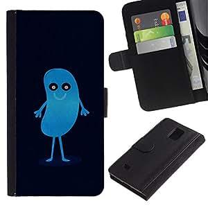 All Phone Most Case / Oferta Especial Cáscara Funda de cuero Monedero Cubierta de proteccion Caso / Wallet Case for Samsung Galaxy Note 4 IV // CUTE BLUE BEAN