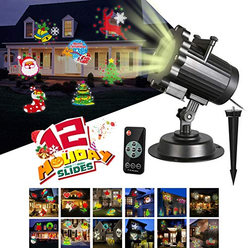 Christmas LED Projector Lights, Onewell 12 Pattern Slides Dynamic Motion Projection Lamp Landscape Light with Wireless Remote Control for Xmas Party Wedding Indoor Outdoor Birthday Garden Decorations