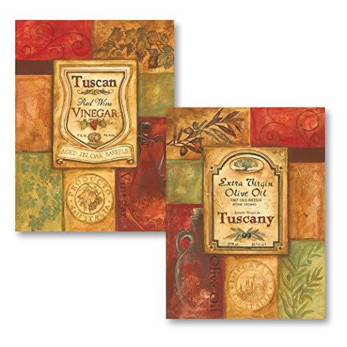 2 Tuscan Retro Olive Oil and Vinegar; Kitchen Decor; Two 12X16 Poster Prints (Decor Olive Kitchen)