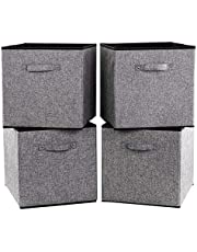 Robuy Cube Storage Bins Foldable Fabric Storage Boxes Organizer for Shelves , Home,Office,Nurstry and More 4-Pack Grey 13x15x13 inch