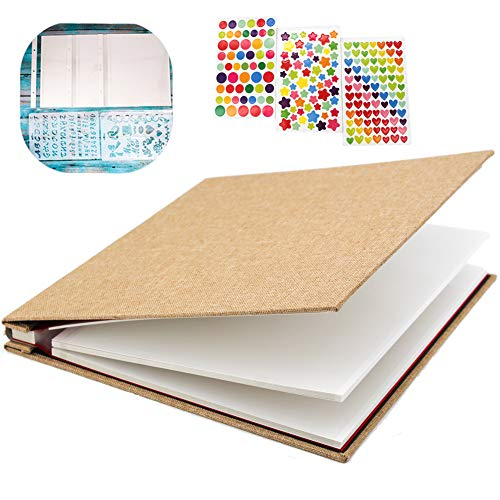 """WonderFour Photo Album Self Adhesive, Magnetic Photo Albums for Wedding/Family, Linen Hardcover 40 Sticky Pages Length 11"""" x 10.6"""", Scrapbook Album and DIY Accessories Kits ()"""