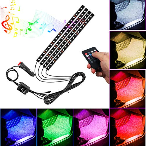 Cigarette Lighting - 4Pcs Multicolor Car RGB LED Strip Light, YANF DC12V/72LEDs Car Glow Interior Atmosphere Floor Lights Neon Under Dash Lighting Kit with Sound Sensor and Wireless Remote Control (Exchangeable Remote)