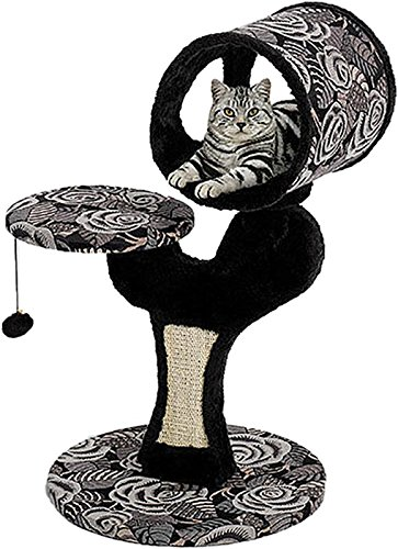 MidWest 'Salvador' Cat Tree w/ Built-in Sisal Cat Scratching Pad & Cat Look-Out Lounge, Black / White Pattern, Small Cat Tree