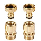 Garden Hose Quick Connector 3/4 inches, Solid Brass Garden Hose Fitting and Adapters, Water Hose Connectors Sets