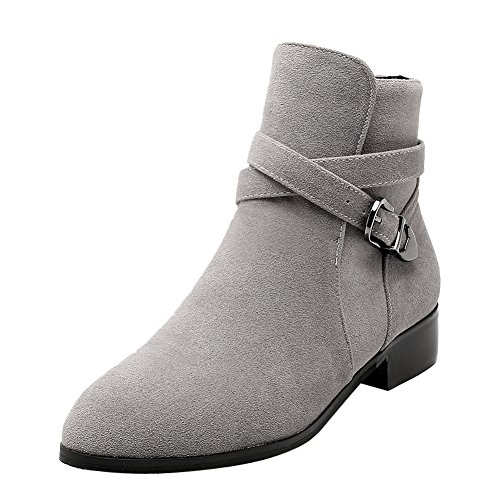 Latasa Gray Monk Heels Strap Jodhpur Women's High Chunky Ankle Boots zrqp5zxTwn