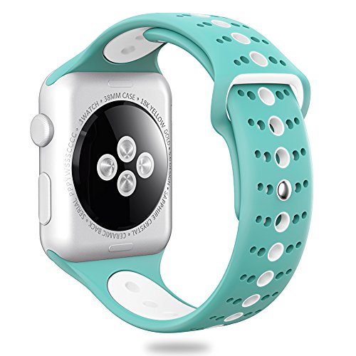 Valband Comppatible for Apple Watch Band 38mm Soft Silicone Sport Band Strap Replacement iWatch Bands for Apple Watch Nike Series 3,Series 2,Series 1 (42mm, Celeste/White)