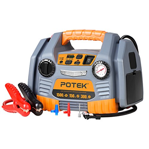 POTEK Portable Power Source:1500 Peak/ 750 Instant Amps Jump Starter, 300W Inverter,150 PSI Air Compressor (Ultimate Speed Portable Jump Starter With Power Bank)
