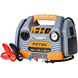 POTEK Portable Power Source: 1500 Peak/750 Instant Amps Jump Starter, 300W Inverter,150 PSI Air Compressor