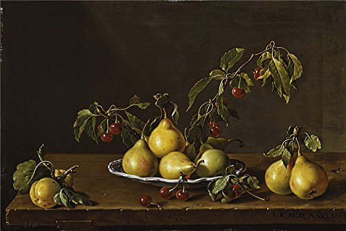 (Oil Painting 'Melendez Luis Egidio Frutero Con Peras Y Guindas 1773 ' Printing On Perfect Effect Canvas , 24 X 36 Inch / 61 X 92 Cm ,the Best Gift For Relatives And Home Decoration And Gifts Is This Replica Art DecorativePrints On Canvas)