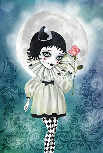 Pierrette Costume (Wall Art Print entitled Pierrette Under The Icy Moon by SANDRA VARGAS | 11 x 16)