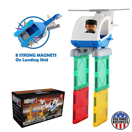 Pythagoras Magnets Flying Helicopter Toy Police Set with Magnets - Policeman Toys Add on Sets for Magnetic Blocks - Magnetic Tiles Expansion Kids Educational STEM Learning Toys for Boys and Girls