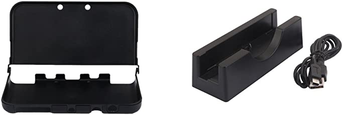 D DOLITY Carcasa De Protección De Aluminio Carcasa + Base De Carga para La Nueva Nintendo 3DS XL, Proteja Su Dispositivo De Daños Y Polvo De Los Arañazos