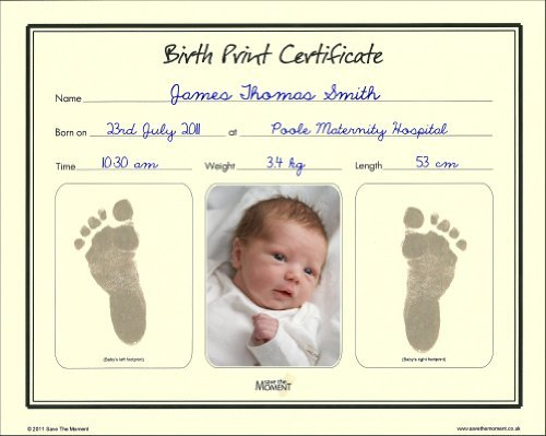 Save The Moment Birth Print Certificate with Inkless Footprint Baby (Keepsake Certificate)