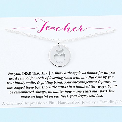 Unique Teacher Gift • Sterling Silver Keepsake Necklace • Little Apple Cutout Charm • 18 Inch Chain • Inspirational . Gratitude . Thank You • Meaningful Jewelry