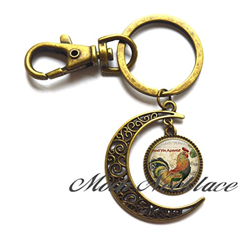 Charm Moon Keychain,Rooster Collage Moon Keychain, Rooster Moon Keychain chicken Moon Keychain rooster Moon Key Ring chicken lover gift, farmer's Moon Keychain-ZE300