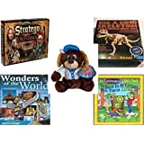 "Children's Fun & Educational Gift Bundle - Ages 6-12 [5 Piece] - The Lord of The Rings Stratego Game - T-Rex Dinosaur Excavation Kit Toy - Sugarloaf Toys Baseball Dog Plush 11"" - Wonders of the Wor"