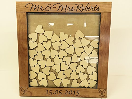 Personalised luxury cherrywood wedding guest book heart drop box 56 hearts gift Wedding anniversary rustic shabby chic 36x34cm keepsake by FSSS Ltd by FSSS Ltd