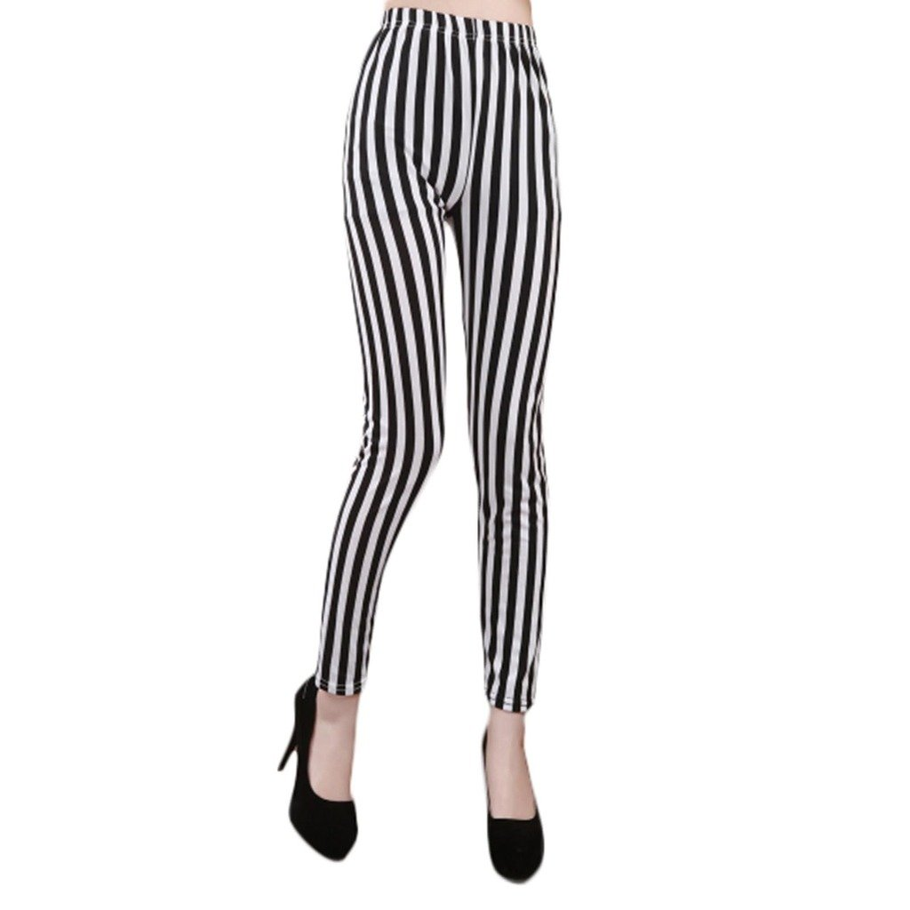 HuntGold 1X New Fashion Zebra Pattern Thin Stripes Skinny Nine Pants Elastic Leggings(Black& White)