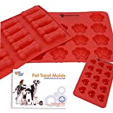 3 x Silicone Pet Treat Molds. Dog Paw, Bone and