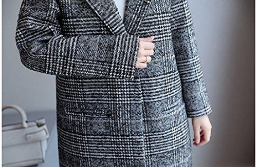 Parka Veste Gris Carreaux Trench Femme Acvip À Long Manteau Jacket wxBn7gHq