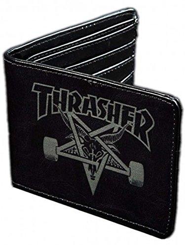Thrasher Men's Skate Goat Leather Bifold Wallet Black (Thrasher Tattoo)