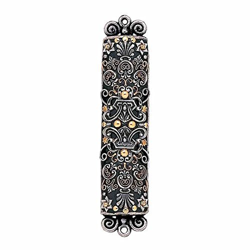 Metallic Silver and Gold Mezuzah with Ornate Embellishment. Handmade by Michal Golan. Jewish Home Decor and Prayer Scroll Case.
