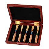 WEONE Red Wooden Oboe Reed Case Holds 10PCS Oboe Reeds Protector With Soft Velvet