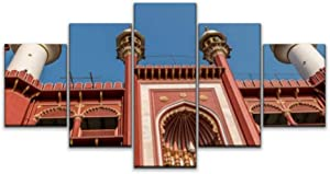 Skipvelo masjid kolkatas and Pictures Wall Art Canvas Prints Pictures Paintings Artwork Home Decor Stretched and Framed - 5 Pieces