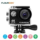 Action Camera FLOUREON 16MP 4K Ultra HD Sport Camera DV Camcorder 2 Inch LTPS Screen with 2 PCS Rechargeable Battery 170 Degree Fish Wide Angle Lens Waterproof Support WiFi Remote and APP Control