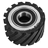 LOVSHARE 4 x 2 Inch Belt Grinder Rubber Wheel 30mm bearings Serrated Contact Wheel Dynamically Balanced Expandable Rubber Drum for 2×72 Inch Belt Grinder Sander Knife Making Grinder (4 inch)