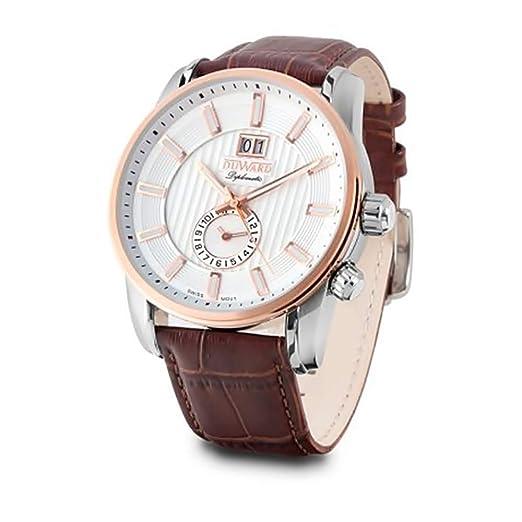 DUWARD Reloj para Hombre Analógico Cuarzo Suizo con Correa de Piel de Vaca D85709.81: Amazon.es: Relojes