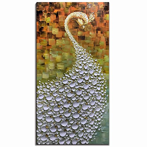 V-inspire Paintings, 20x40 Inch Modern Abstract Painting Peacock flaunting its tail Oil Hand Painting 3D Hand-Painted On Canvas Abstract Artwork Art Wood Inside Framed Hanging Wall Decoration by V-inspire
