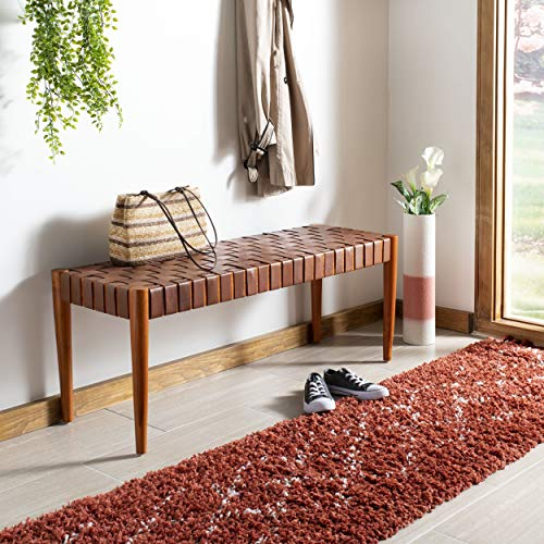 Safavieh BCH1001A Home Collection Amalia Bench, Cognac/Dark Brown (Upholsted)
