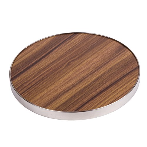 """Creative Home 50249 Fiber 7"""" Round Trivet, Serving Board Acacia Wood Finish and Stainless Steel Trim, Brown by Creative Home (Image #3)"""